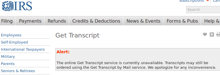Multiple sources, such as Krebs and Ars Technica, report that a lot of  fraudulent activity has focused around the Get Transcript app on the IRS  website.